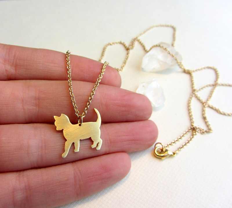 Gold Cat Necklace Animal Pet Jewelry Long Pendant Long Chain